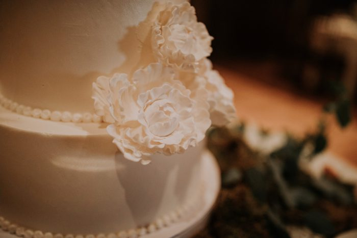 Sugar Flower Wedding Cake: Charming Rustic Wedding at Oak Lodge from All Heart Photo & Video featured on Burgh Brides