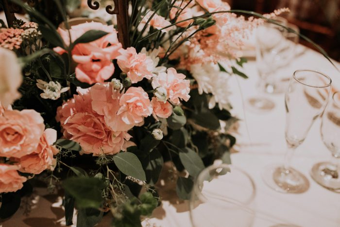Pink Wedding Centerpieces: Charming Rustic Wedding at Oak Lodge from All Heart Photo & Video featured on Burgh Brides