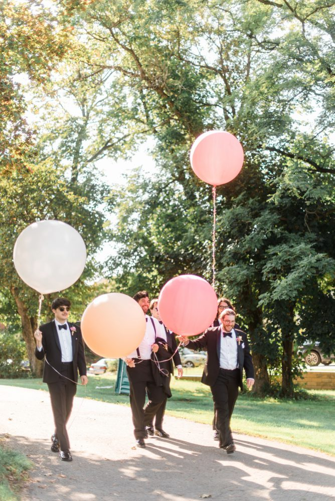 Wedding Balloons: Fun Whimsical Wedding from Sky's the Limit Photography featured on Burgh Brides