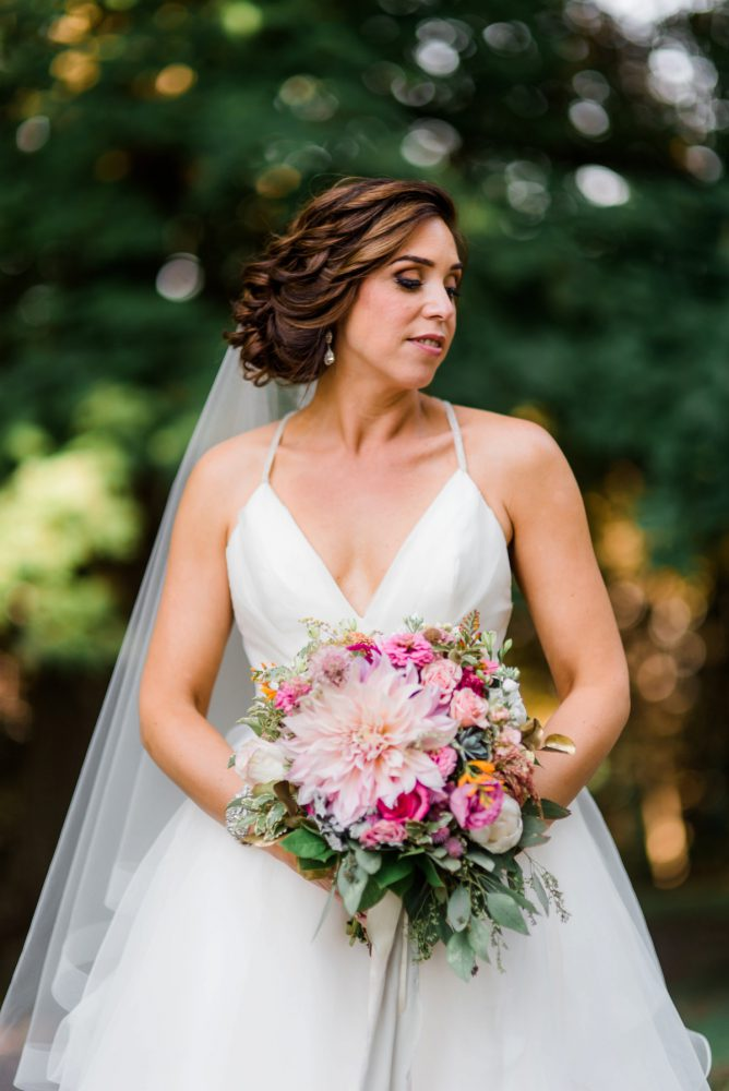 Pink Bridal Bouquet: Fun Whimsical Wedding from Sky's the Limit Photography featured on Burgh Brides