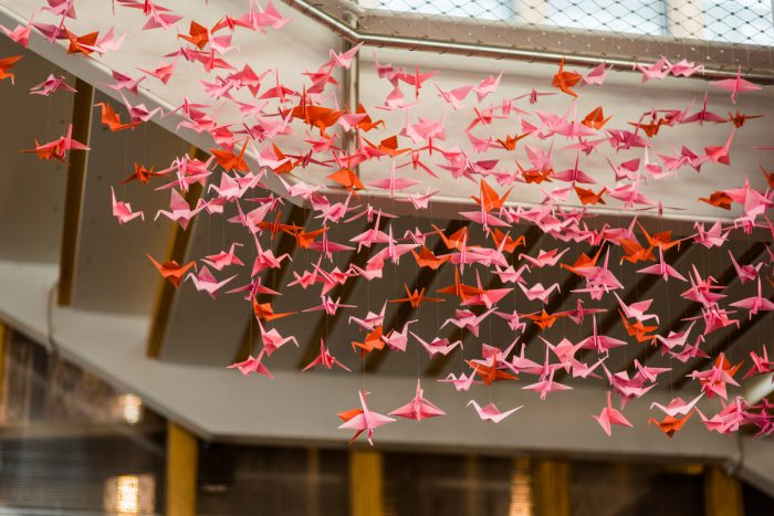 Paper Crane Wedding Display: Fun Whimsical Wedding from Sky's the Limit Photography featured on Burgh Brides