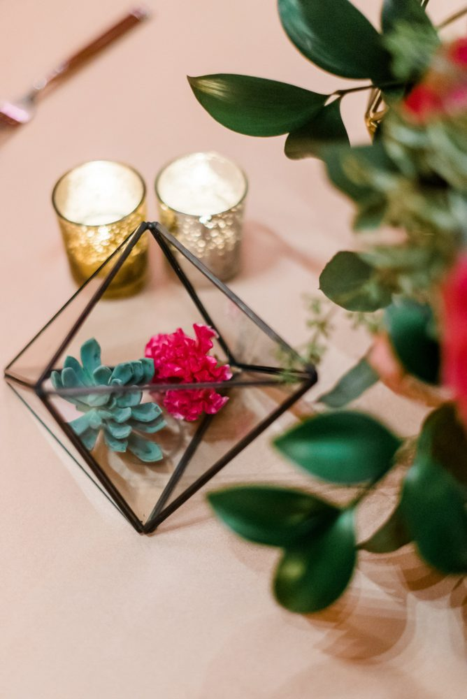 Geometric Wedding Centerpieces: Fun Whimsical Wedding from Sky's the Limit Photography featured on Burgh Brides