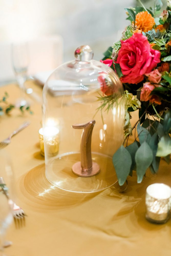 Gold Wedding Table Numbers: Fun Whimsical Wedding from Sky's the Limit Photography featured on Burgh Brides