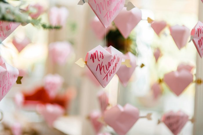 Paper Heart Escort Cards: Fun Whimsical Wedding from Sky's the Limit Photography featured on Burgh Brides