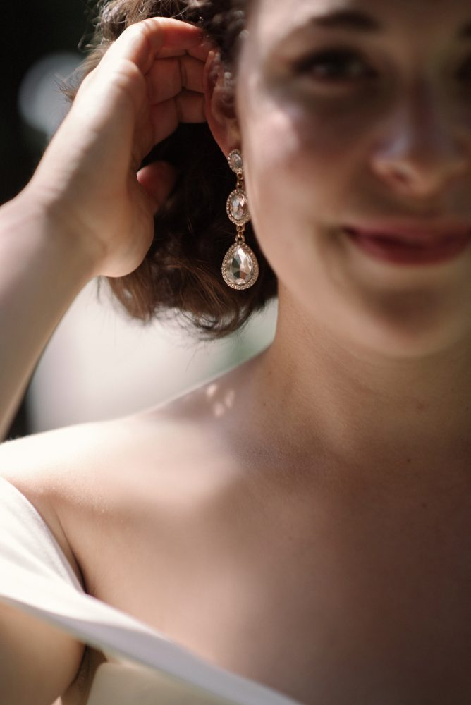 Wedding Earrings: Low Key Wedding with a Super Cool Vibe from Whitling Photography featured on Burgh Brides