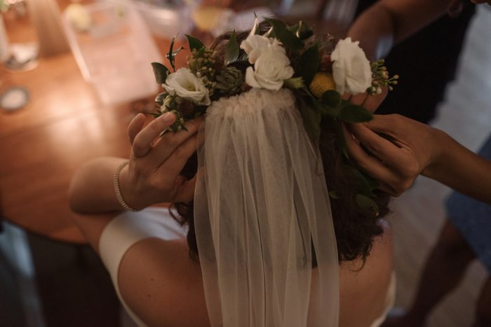 Floral Head Piece: Low Key Wedding with a Super Cool Vibe from Whitling Photography featured on Burgh Brides