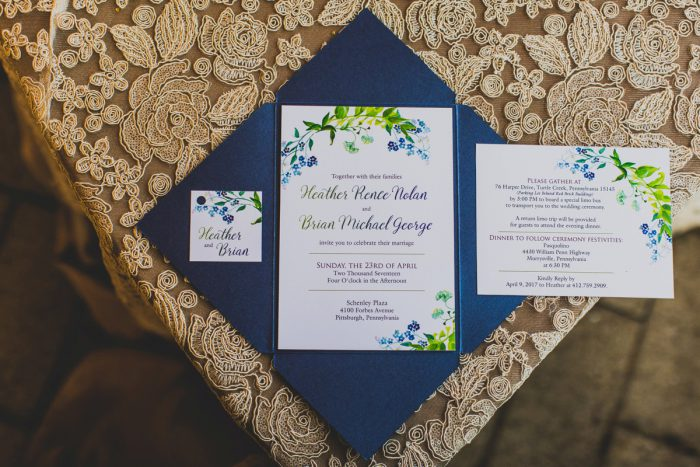 Blue and Green Wedding Invitations: A Schenley Plaza Wedding: ReVeal Pittsburgh by Ryan Zarichnak Photography featured on Burgh Brides