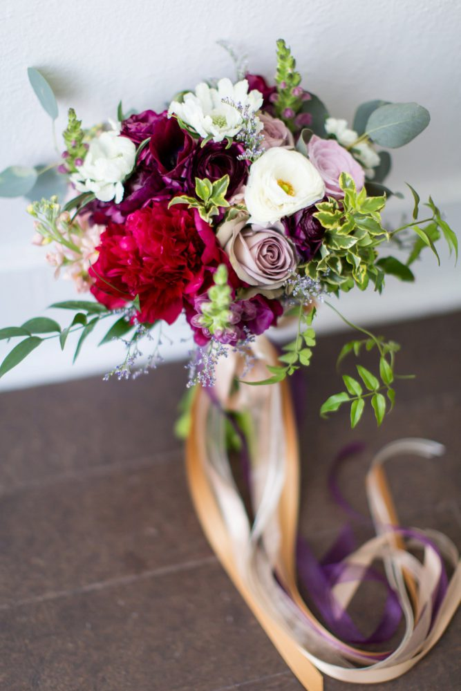 Bridal Bouquet with Ribbons: A Schenley Plaza Wedding: ReVeal Pittsburgh by Weddings by Alisa featured on Burgh Brides