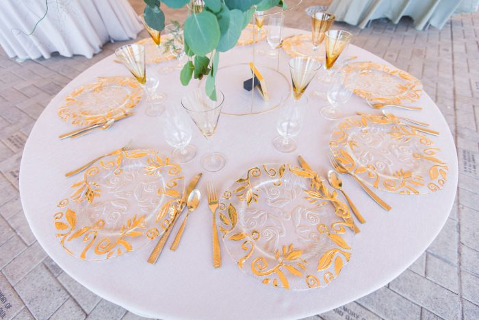 Gold Charger Plates: A Schenley Plaza Wedding: ReVeal Pittsburgh by Weddings by Alisa featured on Burgh Brides