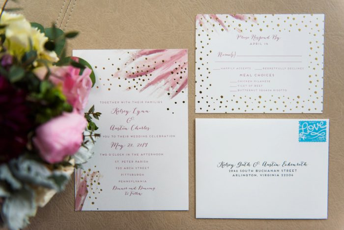 Pink and Gold Foil Wedding Invitations: Soft Romantic Wedding at the Renaissance from Leeann Marie, Wedding Photographers featured on Burgh Brides