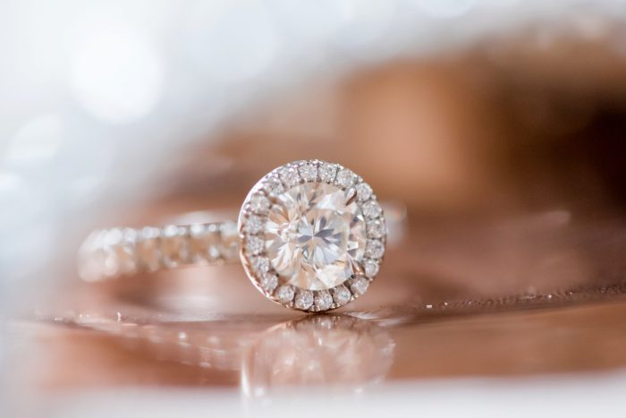 Round Diamond Engagement Ring with Halo Setting: Soft Romantic Wedding at the Renaissance from Leeann Marie, Wedding Photographers featured on Burgh Brides
