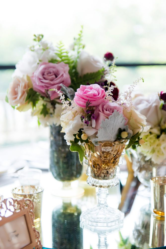 Mercury Glass Wedding Centerpieces: Soft Romantic Wedding at the Renaissance from Leeann Marie, Wedding Photographers featured on Burgh Brides