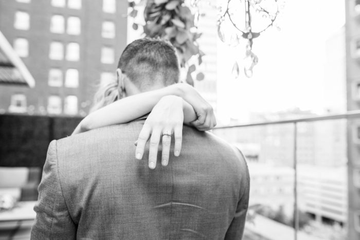 Surprise Rooftop Proposal at Hotel Monaco from Exhale Events and Abbie Tyler Photography featured on Burgh Brides