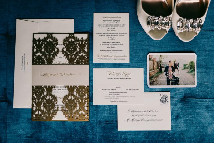 Gold Wedding Invitations: Timeless Gold & White Wedding from Steven Dray Images featured on Burgh Brides