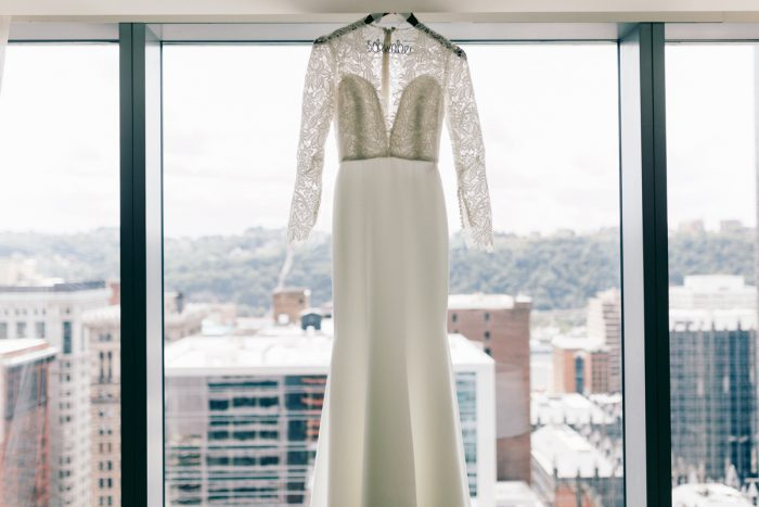 Lace Sleeve Wedding Dress: Gold Wedding Invitations: Timeless Gold & White Wedding from Steven Dray Images featured on Burgh Brides