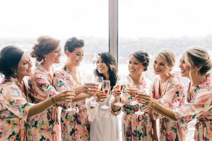 Floral Bridesmaids Robes: Gold Wedding Invitations: Timeless Gold & White Wedding from Steven Dray Images featured on Burgh Brides