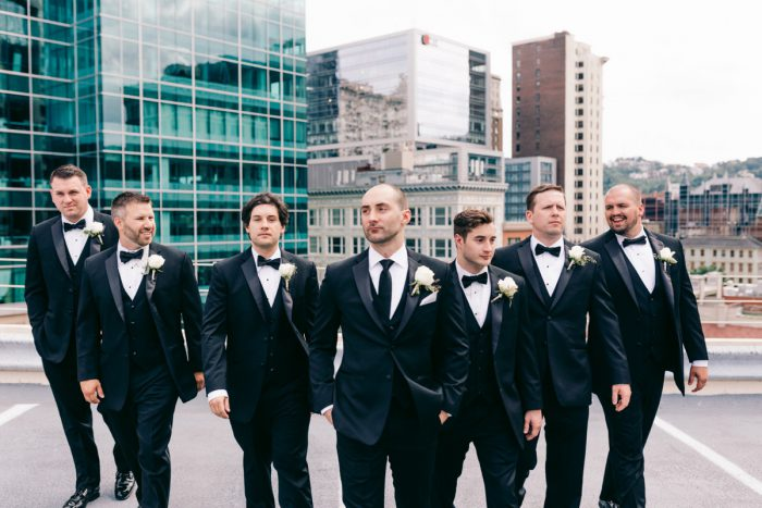 Groomsmen in Black Tuxedos: Gold Wedding Invitations: Timeless Gold & White Wedding from Steven Dray Images featured on Burgh Brides