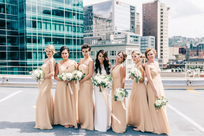 Gold Bridesmaids Dresses: Gold Wedding Invitations: Timeless Gold & White Wedding from Steven Dray Images featured on Burgh Brides