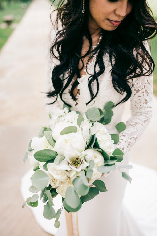 Green and White Bridal Bouquet: Gold Wedding Invitations: Timeless Gold & White Wedding from Steven Dray Images featured on Burgh Brides