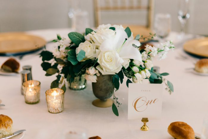 White Flowers Centerpieces: Gold Wedding Invitations: Timeless Gold & White Wedding from Steven Dray Images featured on Burgh Brides