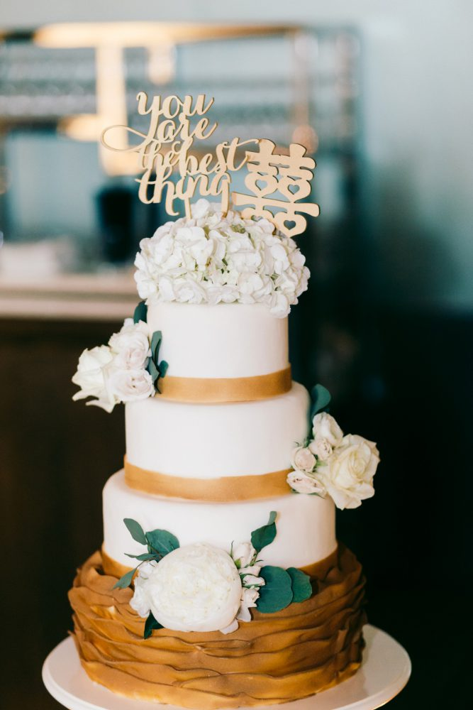 Gold Wedding Cake: Gold Wedding Invitations: Timeless Gold & White Wedding from Steven Dray Images featured on Burgh Brides