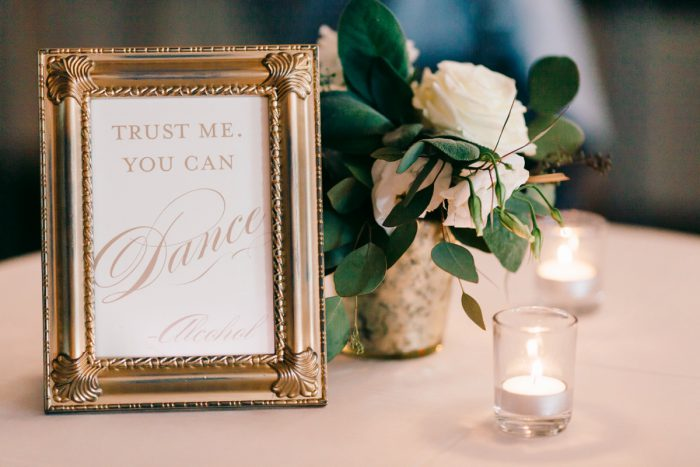 Wedding Sign: Gold Wedding Invitations: Timeless Gold & White Wedding from Steven Dray Images featured on Burgh Brides