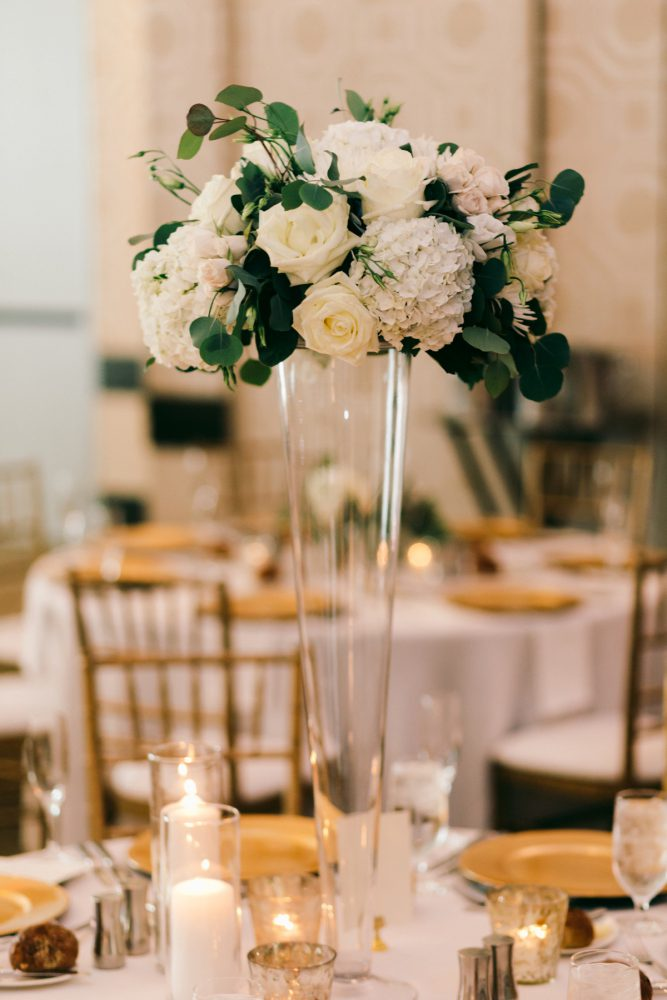Tall Flower Arrangements: Gold Wedding Invitations: Timeless Gold & White Wedding from Steven Dray Images featured on Burgh Brides
