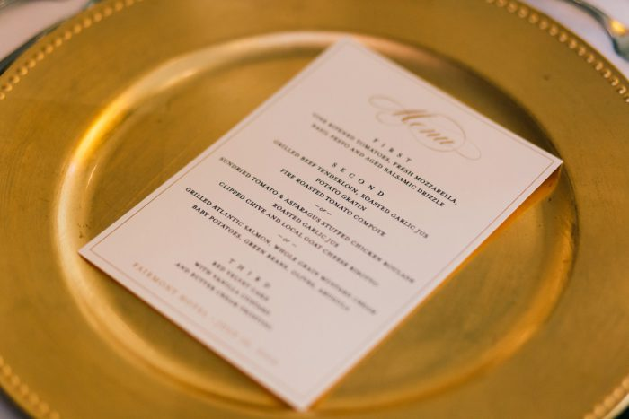 Gold Charger Plates: Gold Wedding Invitations: Timeless Gold & White Wedding from Steven Dray Images featured on Burgh Brides