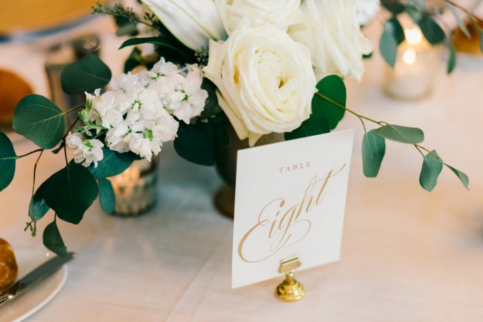 Table Numbers: Gold Wedding Invitations: Timeless Gold & White Wedding from Steven Dray Images featured on Burgh Brides