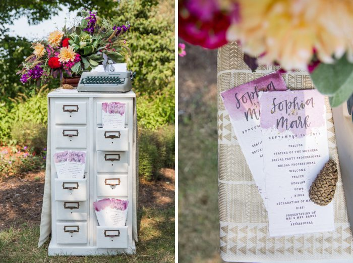 Watercolor Wedding Ceremony Programs: Versatile Vintage Inspired Wedding Styled Shoot featured on Burgh Brides
