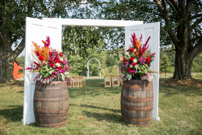 Antique Barrel Ceremony Set Up Ideas: Versatile Vintage Inspired Wedding Styled Shoot featured on Burgh Brides