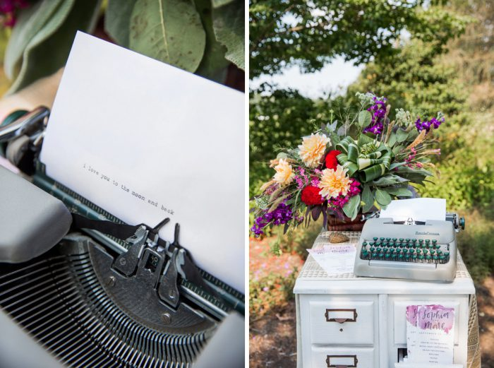 Antique Typewriter Wedding Guest Book: Versatile Vintage Inspired Wedding Styled Shoot featured on Burgh Brides