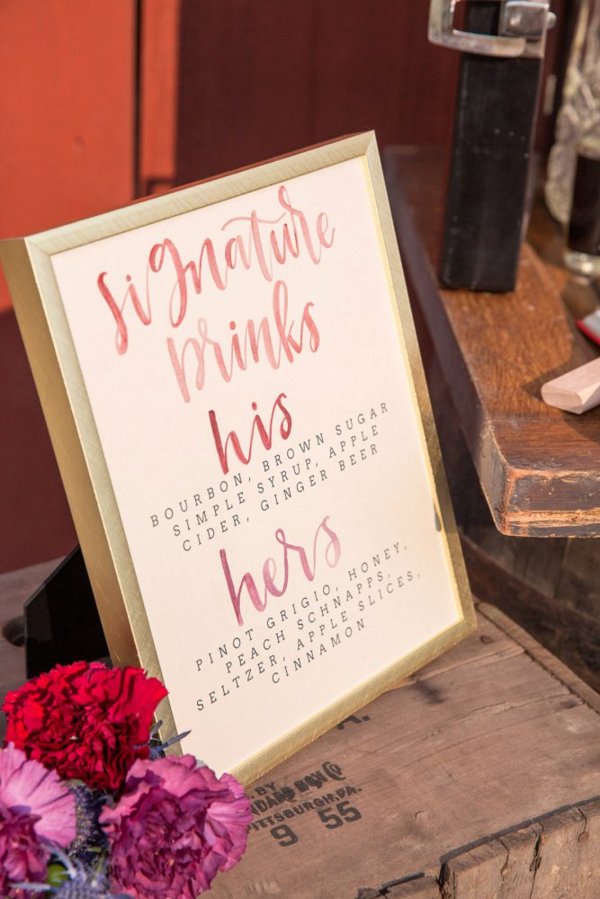 Wedding Signature Drink Signs: Versatile Vintage Inspired Wedding Styled Shoot featured on Burgh Brides