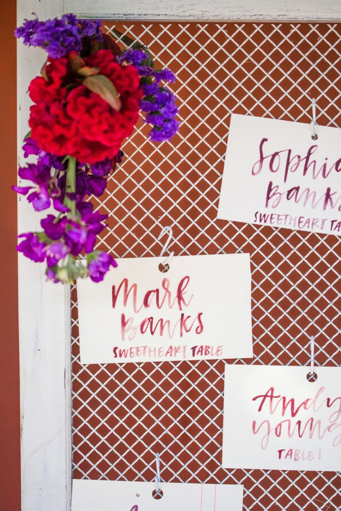 Hand Lettered Wedding Escort Cards: Versatile Vintage Inspired Wedding Styled Shoot featured on Burgh Brides