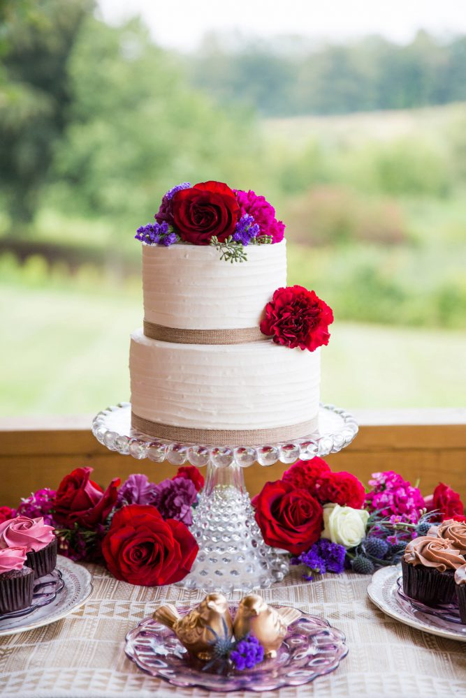 Pink and Purple Wedding Cake: Versatile Vintage Inspired Wedding Styled Shoot featured on Burgh Brides