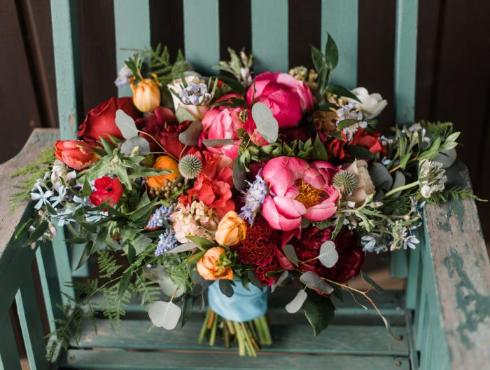 Colorful Wedding Bouquet: Vibrant Whimsical Wedding at Rustic Acres Farm from Dawn Derbyshire Photography featured on Burgh Brides