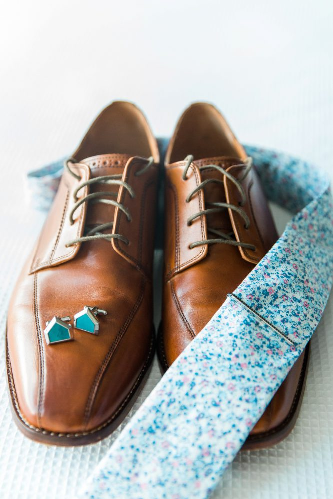 Blue Neck Tie for Groom: Vibrant Whimsical Wedding at Rustic Acres Farm from Dawn Derbyshire Photography featured on Burgh Brides