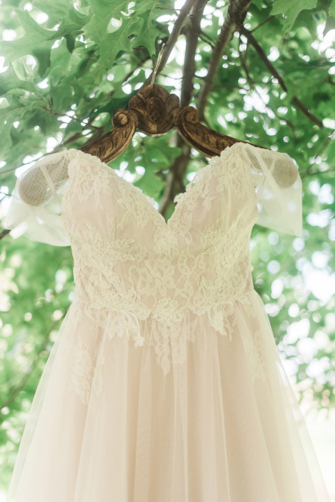 Cap Sleeve Wedding Dress: Vibrant Whimsical Wedding at Rustic Acres Farm from Dawn Derbyshire Photography featured on Burgh Brides