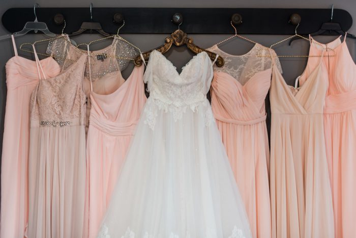 Blush Pink Bridesmaids Dresses: Vibrant Whimsical Wedding at Rustic Acres Farm from Dawn Derbyshire Photography featured on Burgh Brides