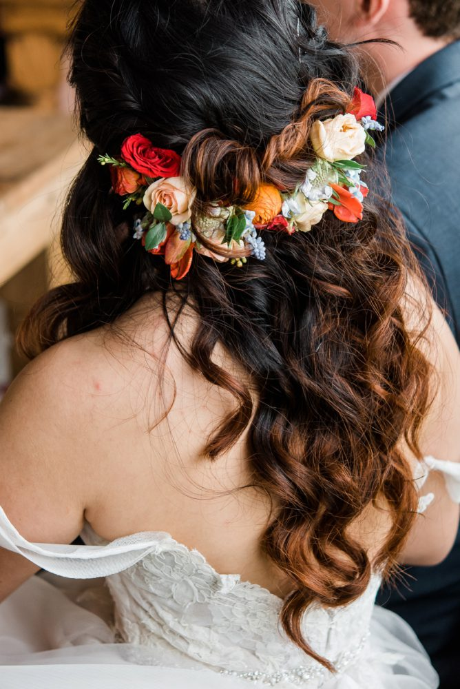 Bridal Flower Crown: Vibrant Whimsical Wedding at Rustic Acres Farm from Dawn Derbyshire Photography featured on Burgh Brides