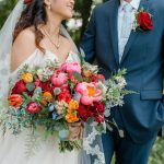 Colorful Peony Bridal Bouquet: Vibrant Whimsical Wedding at Rustic Acres Farm from Dawn Derbyshire Photography featured on Burgh Brides