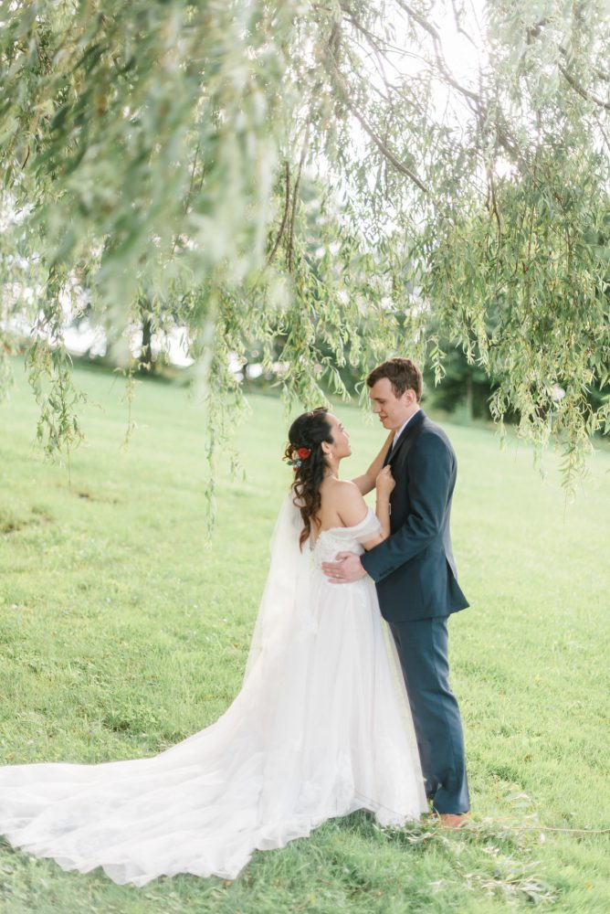 Outdoor Bridal Portraits: Vibrant Whimsical Wedding at Rustic Acres Farm from Dawn Derbyshire Photography featured on Burgh Brides