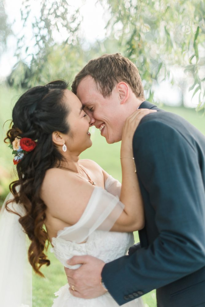 Off the Should Wedding Dress: Vibrant Whimsical Wedding at Rustic Acres Farm from Dawn Derbyshire Photography featured on Burgh Brides
