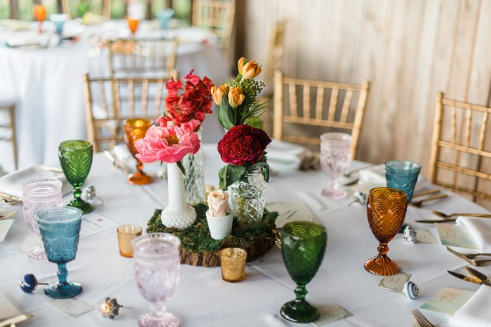 Colorful Wedding Tablescape: Vibrant Whimsical Wedding at Rustic Acres Farm from Dawn Derbyshire Photography featured on Burgh Brides