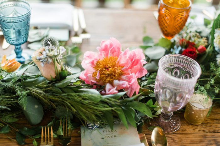 Coral Charm Peony Table Runner: Vibrant Whimsical Wedding at Rustic Acres Farm from Dawn Derbyshire Photography featured on Burgh Brides