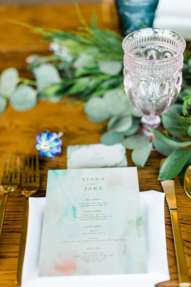 Watercolor Menu Cards: Vibrant Whimsical Wedding at Rustic Acres Farm from Dawn Derbyshire Photography featured on Burgh Brides