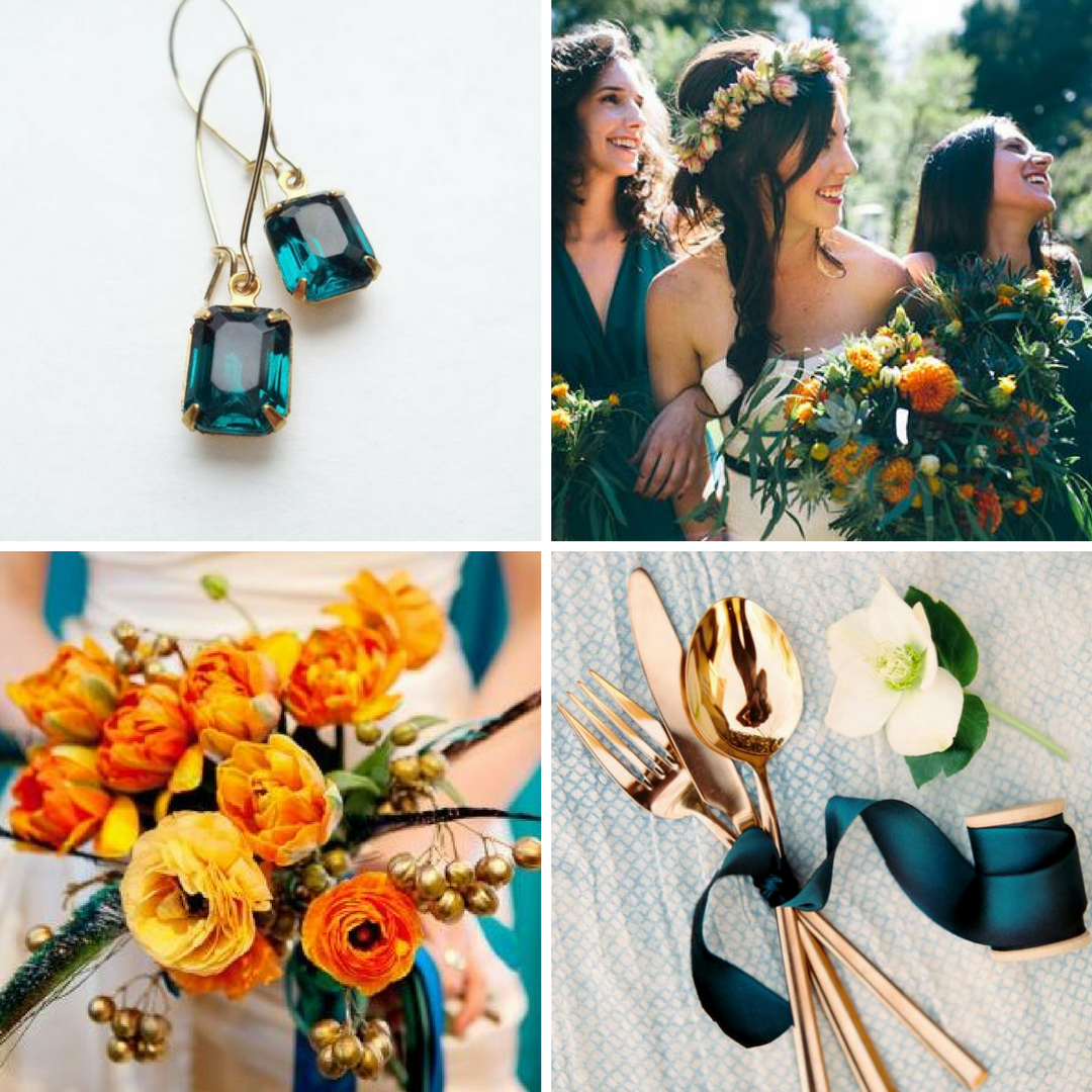 Teal Wedding Ideas For Reception: Burnt Orange & Dark Teal Wedding Inspiration