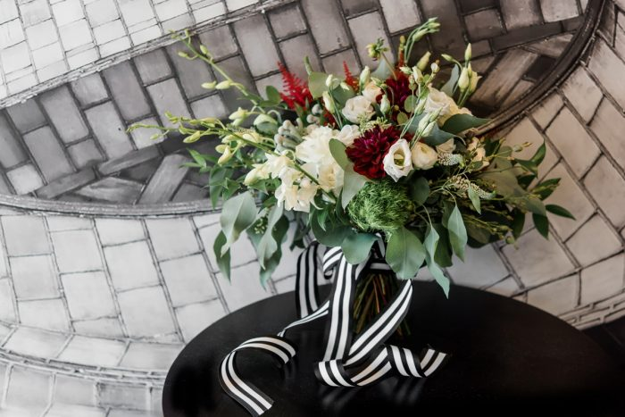 White and Red Wedding Bouquet: Glamorous Black, White, & Gold Wedding with a Pittsburgh Theme at the Heinz History Center from Sky's the Limit Photography featured on Burgh Brides