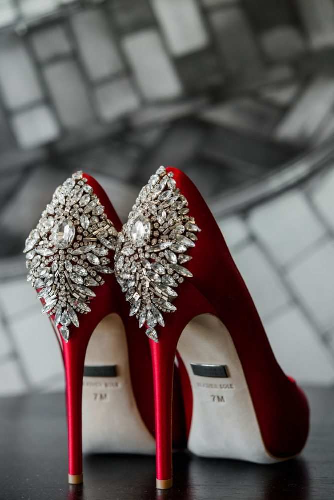 Red Wedding Shoes: Glamorous Black, White, & Gold Wedding with a Pittsburgh Theme at the Heinz History Center from Sky's the Limit Photography featured on Burgh Brides