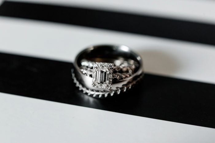Square Shaped Diamond Engagement Ring: Glamorous Black, White, & Gold Wedding with a Pittsburgh Theme at the Heinz History Center from Sky's the Limit Photography featured on Burgh Brides